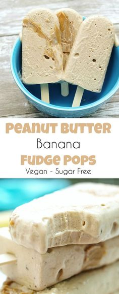 Vegan Peanut Butter Banana Fudge Pops #dairyfree #icecream #vegan #peanutbutter #banana #coconut #vegandessert