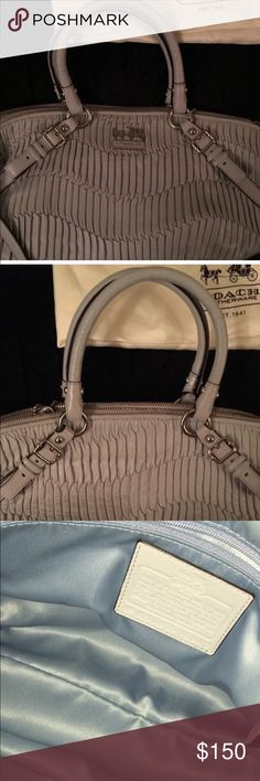 Coach Madison gathered leather bag In perfect condition! 💯 authentic!! Comes with a dust bag , comes with a shoulder strap . Has light blue lining , bag is grey . Has a zippered pocket and slip pockets inside 🚫 stains 🚫holds 🚫low ball offers 🚫trades I have another listing up with more pics 😊 Coach Bags Shoulder Bags