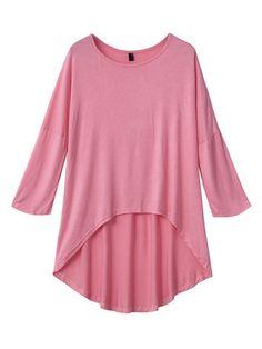 Asymmetrical Casual Loose Black Pink Half Sleeve Women T-Shirt
