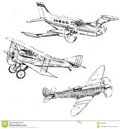 Airplanes Drawings Stock Vector - Image: 42364230