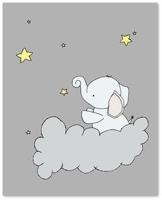 Art Print Set Of 3 Dark Grey Moon Star Cloud Picture Children Nursery Baby Baby