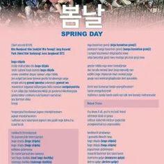 BTS -SPRING DAY Korean Song Lyrics, Bts Song Lyrics, Bts Lyrics Quotes, Song Playlist, Bts Spring Day Lyrics, K Pop, Music Letters, Bts Theory, Korean Words Learning