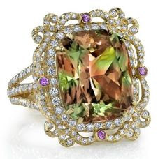 18k Gold and Diamond Zultanite Picture Frame Ring by Erica Courtney