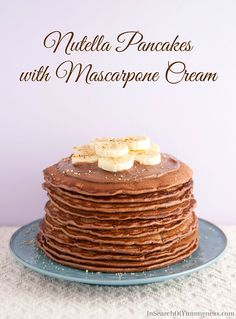 Nutella Pancakes with Mascarpone Cream | www.InSearchOfYummyness.com | #recipe #breakfast Now THIS is what I want for a romantic breakfast!