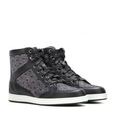 Jimmy Choo Tokyo Leather and Lamé High-Top Sneakers ($505) ❤ liked on Polyvore featuring shoes, sneakers, black, glitter sneakers, black leather sneakers, leather high tops, leather high top sneakers and black high top sneakers