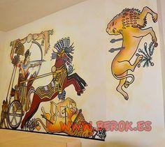 Decoraci n mural papiro egipto graffitis y murales berok for Oficina king barcelona