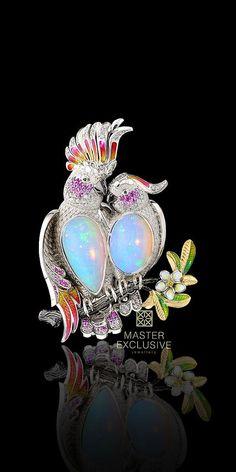 Birds of Paradise Collection. gold, opal, diamonds, black diamonds, yellow diamonds, pink sapphires, enamel: