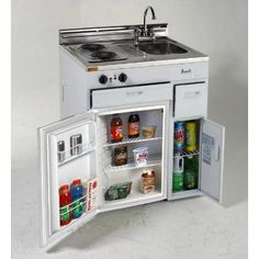 Avanti 30 Inch Compact Kitchen with cu. All-Refrigerator, Electric Cooktop, Stainless Steel Countertop, Stainless Steel Sink, Chrome Faucet and Integrated Backsplash Basic Kitchen, Compact Kitchen, Mini Kitchen, Kitchen Units, Summer Kitchen, Kitchen Small, Open Kitchen, Stainless Steel Countertops, Stainless Steel Sinks