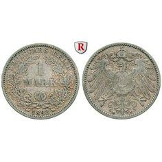 Deutsches Kaiserreich, 1 Mark 1892, G, ss, J. 17: 1 Mark 1892 G. J. 17; sehr schön 50,00€ #coins