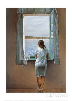 Figuur aan het raam Schilderij van Salvador Dalí bij AllPosters.nl
