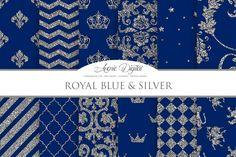 Royal Blue and Silver Digital Paper By AvenieDigital