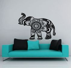 Wall-Decal-Elephant-Vinyl-Sticker-Decals-Mandala-Indian-Elephant-Decor-NS384