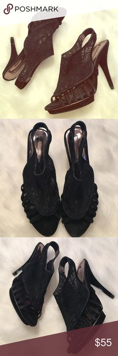 BCBG Max Azria Black Lace Suede Platform Worn once and excellent condition. 1/2 inch platform and 4.5 inch heel. BCBGMaxAzria Shoes Platforms