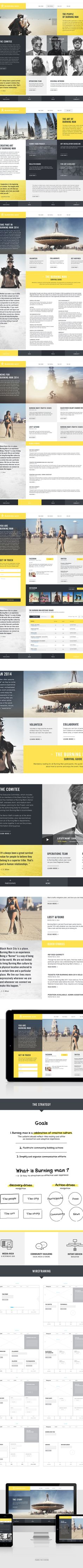 Burning Man - Redesign by Marc-Antoine Roy (The block layout, a hover and JQuery load system could be added easily to this.)