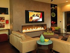 a long gas fireplace | As you can see, gas fireplaces can also be designed to face two ...