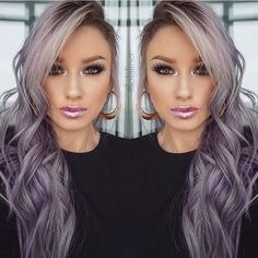 """lips """"blush"""" liquid lipstick with """"peaches n cream"""" glitter on top. Cute Hair Colors, Cool Hair Color, Purple Hair, Ombre Hair, Gray Hair, Blonde Hair Looks, Lavender Hair, Hair Highlights, Hair Dos"""