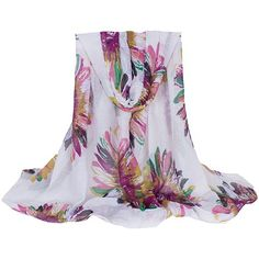 Stylish Hemming Colorful Sunflower Ink Printing Voile Scarf For Women