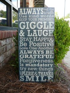 Family House Rules VERSION 2 Subway Sign - Hand Painted and Distressed. $55.00, via Etsy.