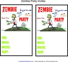 Zombie Birthday Party Invitation Printable and Personalised
