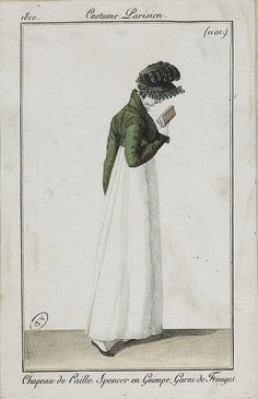 Costume Parisien Spencer and bonnet. Regency Dress, Regency Era, Historical Costume, Historical Clothing, 1800s Clothing, Jane Austen, Rey George, Napoleon, Vintage Outfits
