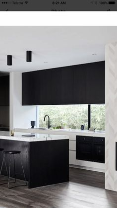Proof That A Monochrome Kitchen Space Never Fails To Please 64 - athomebyte Black Kitchens, Cool Kitchens, Fat Chef Kitchen Decor, Kitchen Ideas, Kitchen Window Coverings, Monochrome Interior, Trends, Interior Design Kitchen, House Design