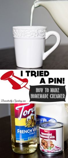 This morning I tried this pin for Coffee creamer with a couple tweaks......  I used 1/2 as much milk and left out the Torani syrup.  (I usually have 3 flavors I choose from depending on my mood- I add that seperately)  The creamer came out rich and slightly sweet and 2 teaspoons was all I needed!   According to the nutrition calculator I use - each tsp is 7.2 cal, .1g fat, and 1.4g sugar