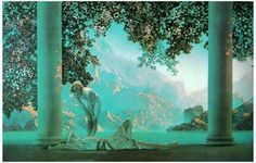 A beautiful poster of 'Daybreak' by Maxfield Parrish! Known for his scenes from classical mythology, this work epitomizes his technique and style. Ships fast. 11x17 inches. Need Poster Mounts..?