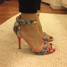 FLORAL ANKLE STRAP HEELS Never worn before. Super comfortable and sleek Mossimo Supply Co Shoes Heels