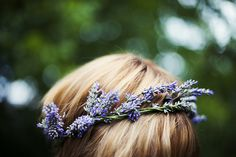 Floral Crowns I lavender crown for the bridesmaids Lavender Wreath, Lavender Flowers, Flowers In Hair, Lavender Hair, Lavender Flower Girl Dress, White Flowers, Beautiful Flowers, Beautiful Things, Irish Wedding