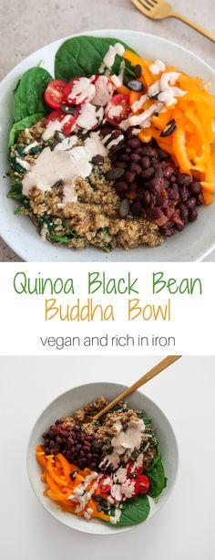 Quinoa and Black Bean Buddha Bowl (Iron-Rich - lecker - Protein Vegan Bowl Recipes, Bean Recipes, Vegan Foods, Healthy Recipes, Protein Recipes, Vegan Dinners, Vegetarian Recipes, 9 Bean Soup Recipe, Vegan Iron