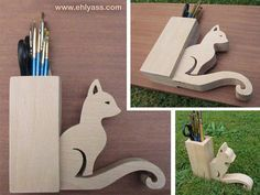 Pencil holder cat, hand made fretwork, french craft creation Ehlyass Cat carried out in fretwork pencil holder. Dimensions: cm height / width cm / hole: 4 x Thickness of the cat: Diy Crafts Hacks, Cat Crafts, Wood Crafts, Diy And Crafts, Wood Shop Projects, Small Wood Projects, Wooden Gifts, Wooden Art, French Crafts