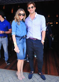 Olivia Palermo and Johannes Huebl do denim-on-denim right at the Gant Rugger Spring 2015 presentation.