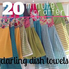 Little Bit Funky: 20 minute crafter Dish towels Easy Sewing Projects, Sewing Projects For Beginners, Sewing Hacks, Sewing Tutorials, Sewing Crafts, Sewing Patterns, Sewing Tips, Fabric Crafts, Apron Patterns