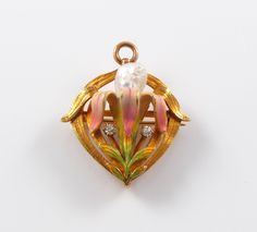 14k Gold Art Nouveau Krementz Enamel Diamond Pearl Brooch Watch Pin Pendant | eBay