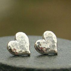 Large Hammered Heart Earrings in Sterling Silver #diystudearringssilver #SterlingSilverJewellery #SterlingSilverEarrings #SilverJewelry