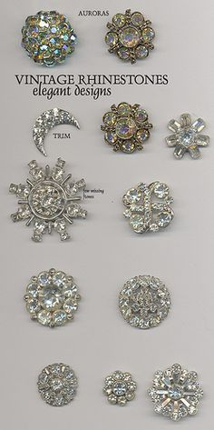 Rhinestone Buttons by YaddaYaYa These would look beautiful on a dark fabric.navy or burgundy or black velvet. Button Cards, Button Button, Passementerie, Look Vintage, Vintage Buttons, Vintage Rhinestone, Sewing A Button, Vintage Sewing, Jewelery
