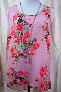 Womens Top Love J Size Large Semi Sheer Pink Floral Necklace Asymmetric Hem    #LoveJ #Tunic #Casual