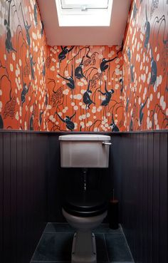 Downstairs Loo Makeover - Mad About The House Inspiration and ideas for a tiny downstairs loo powder room. Add a bold print wallpaper like this De Gourney monkey wallpaper by Brian O'Tuama Monkey Wallpaper, Wallpaper Wall, Bathroom Wallpaper, Wallpaper Toilet, Colorful Wallpaper, Crazy Wallpaper, Silk Wallpaper, Orange Wallpaper, Chinoiserie Wallpaper