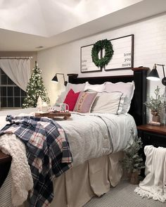 I'm adding Christmas one room at a time with the intention of not overwhelming myself. It may or may not be working. I kind of wish it were socially acceptable to keep the tree up all year round. It adds such warmth to any space. New England Farmhouse, Target Style, Ticking Stripe, Cozy Place, Christmas Decorations, Holiday Decor, Cozy House, Christmas Home, Wonderful Time