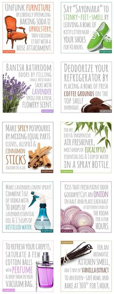 Super simple hacks to clean and deodorize your home! Clean furniture, banish stinky smells, deodorize your fridge, make an air freshener and more! ♡ purasentials.com ♡ essential oils with love