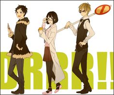 Omg. They're cosplaying the other characters XD. Mikado/Izaya, Anri/Shinra, and Masaomi/Shizuo.