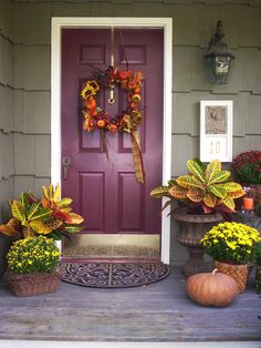 Make your porch/front door welcoming. Wreath is easy to make, grapevine wreath, flowers,ribbon & hot glue gun. ☺