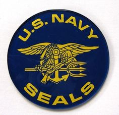 - Acrylic Round Coaster 3 1/2' diameter - Navy Coaster with Gold US NAVY SEALS and Trident - Stock #COASTTN