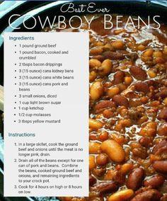 cowboy beans in the (Healthy Recipes Crock Pot) Crockpot Dishes, Crock Pot Slow Cooker, Crock Pot Cooking, Slow Cooker Recipes, Cooking Recipes, Baked Beans Crock Pot, Hamburger Baked Beans, Dinner Crockpot, Crock Pots
