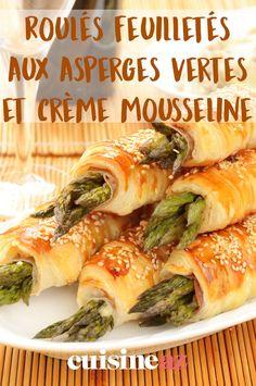 La période des asperge est en général autour de Pâques. Cette recette de roulés feuilletés aux asperges vertes et crème mousseline est parfaite pour l'apéritif ! #recette#cuisine#asperge#aperitif #apero #paques #pâques Spanakopita, Fresh Rolls, Entrees, Veggies, Menu, Cooking, Ethnic Recipes, Desserts, Food