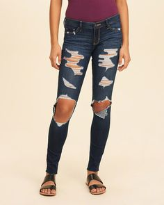 Hollister super skinny jeans are the essential must-have in every wardrobe.  High waisted or low-rise. Ripped, shredded, or destroyed denim.
