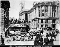 Birmingham 1909. Town hall on the left and council house on the right. Love the fashion and that great carriage.