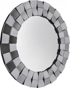 Lustro Fabio  Przepiękne okrągłe lustro o ozdobnej ramie wyciętej pod dwoma różnymi kątami i wyklejanej z kawałków fazowanych lusterek, które gdy przechodzi się obok odbijają sztuczne światło pięknie błyszcząc. Lustro ma tylko 2cm grubości i nie świetnie zdobi przestrzeń nad toaletkami, konsolami oraz bardzo dobrze pasuje w salonie, w holu i w łazience. Mirror, Furniture, Home Decor, Interior Design, Home Interior Design, Arredamento, Mirrors, Home Decoration, Decoration Home