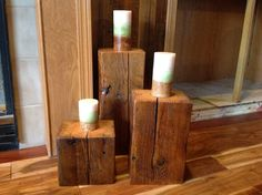 Reclaimed Barn Beam - Home Accents used as Candle Holders, Side Stands or Old Wood Rustic Home Decor - 3 Pieces.
