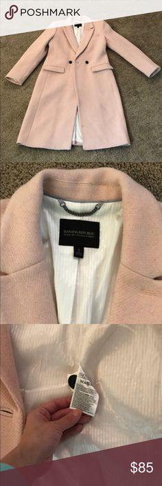 Banana Republic wool coat Light pink. White lining. Working pockets. Only thing wrong is some discoloration on inner bottom and a small spot on the L lower front. Just needs a trip to a dry cleaner. Recently moved and hadn't gotten a chance to get it cleaned. Otherwise great condition. Banana Republic Jackets & Coats